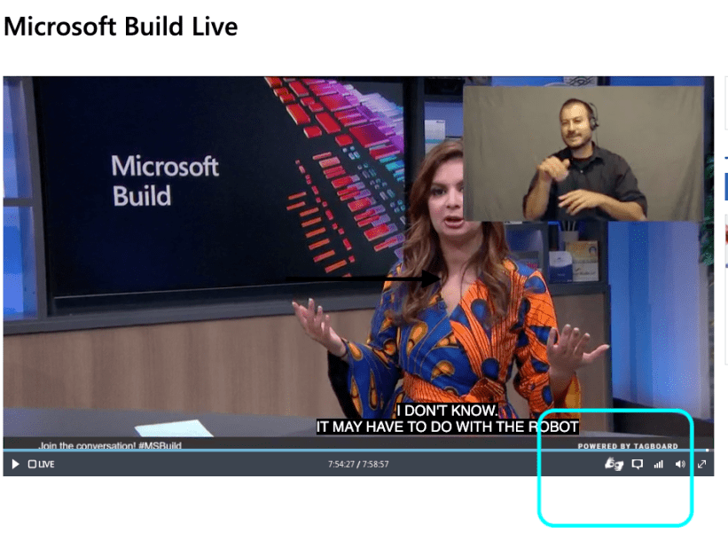Microsoft accessibility controls highlighted. In keynote talk with ASL and captions.