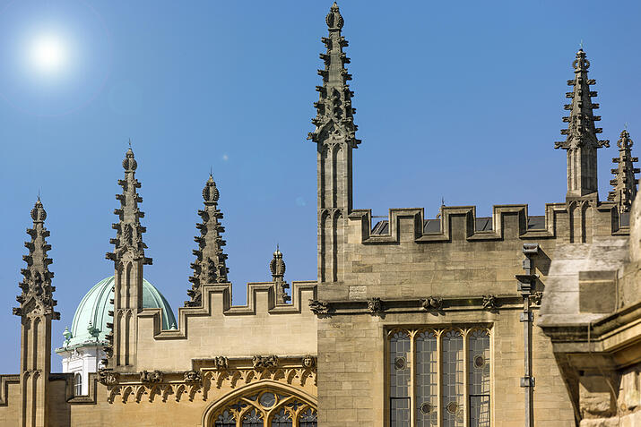 Large towers with spires on a summers day in Oxford