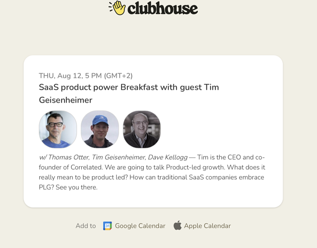 SaaS product power Breakfast with guest Tim Geisenheimer - Clubhouse 2021-08-10 17_00_46